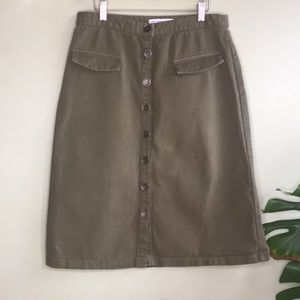 Zara Denim Green Army High Waisted Skirt Midi Jean